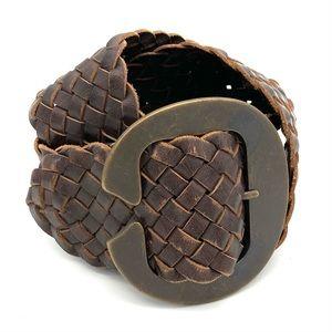 Linea Pelle Braided Leather Belt Large Buckle Boho